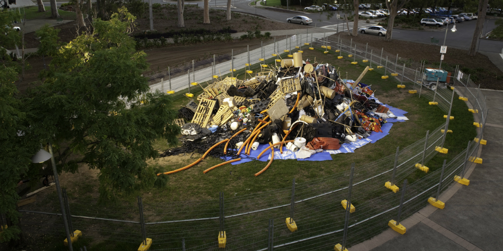 Ash Keating, Activate 2750, 2009. Waste pile, Penrith City Cultural Precinct, 4th March. Commissioned by C3West with SITA Environmental Solutions. Photograph: Alex Kershaw, © the artist. Image courtesy of the artist.