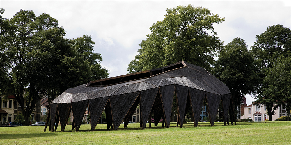 Heather and Ivan Morison, The Black Cloud, 2009. Victoria Park, Bristol, UK. Commissioned by Situations at the University of the West of England, located in Victoria Park, Bristol, UK. Image courtesy of Stuart Whipps, Wig Worldand.