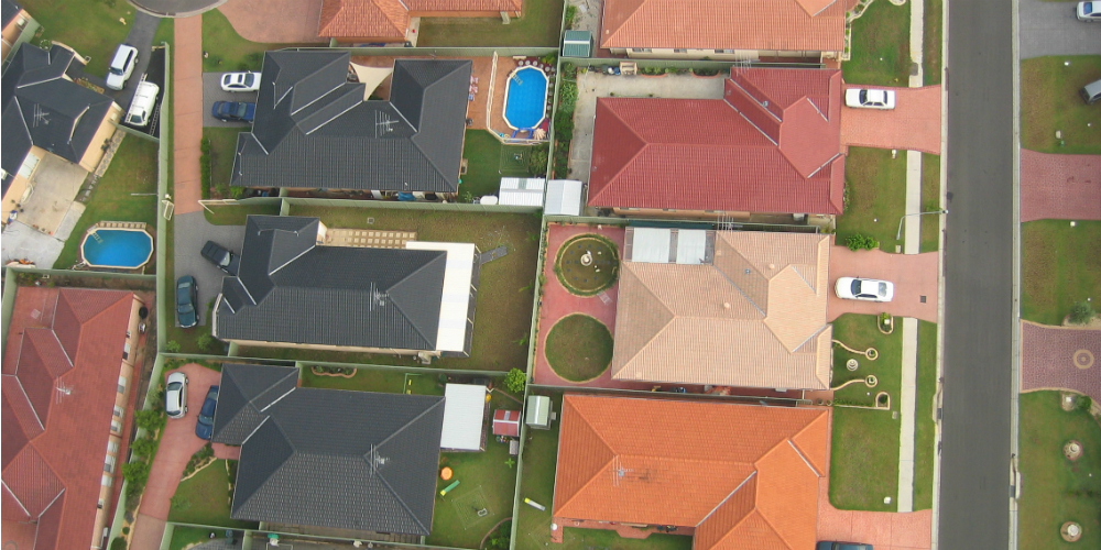 Aerial photo of western Sydney suburbs, 2008. Concept image for Reincarnated McMansion. Photograph: Jason Veale. Image courtesy of Mathieu Gallois.