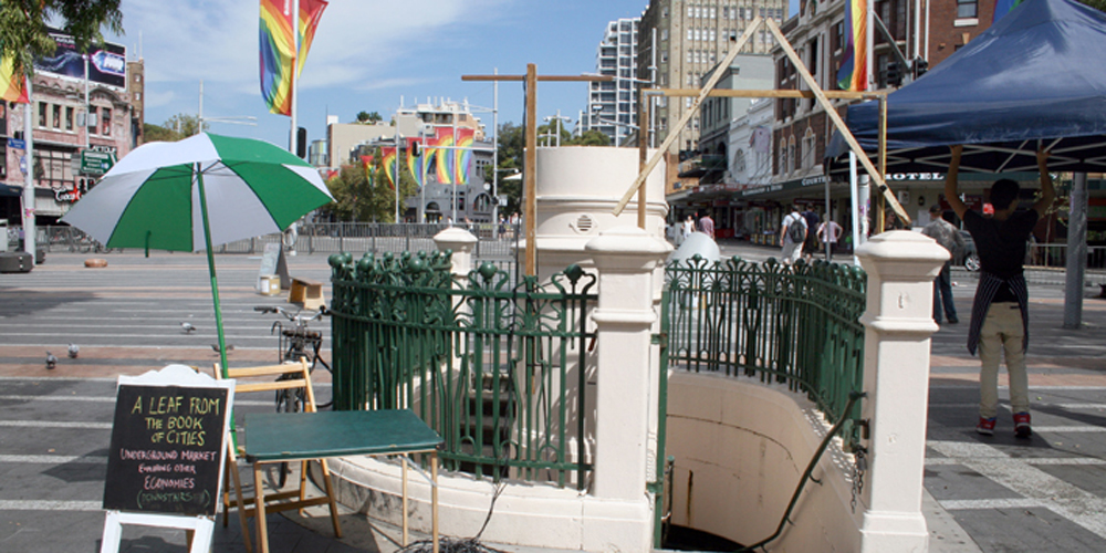 Makeshift, A Leaf from the Book of Cities, 2012. We Make This City, Taylor Square, Sydney, Australia. Image courtesy of Lucy Ainsworth.