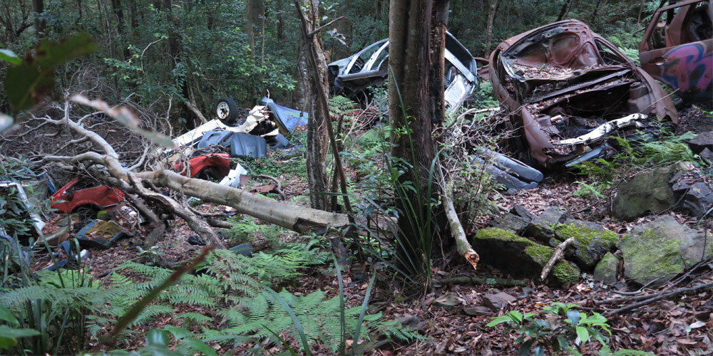 Brogan Bunt, A Line Made By Walking and Assembling Bits and Pieces of the Bodywork of Illegally Dumped Cars Found at the Edge of Roads and Tracks in the Illawarra Escarpment, 2013. llawarra escarpment, Sydney, Australia. Image courtesy of the artist.